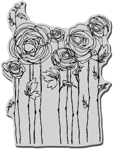 Stampendous Cling Rubber Stamp Ranunculus Field