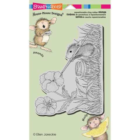 Stampendous House Mouse Cling Rubber Stamp Painted Pansies