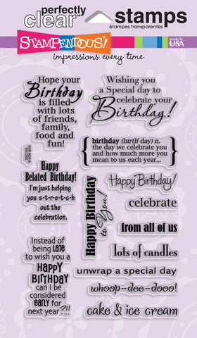 Stampendous Perfectly Clear Stamps Birthday Assortment