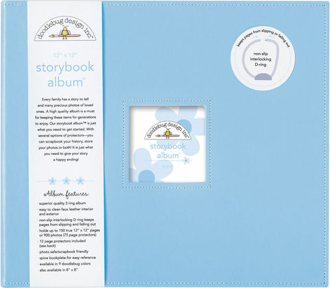 Doodlebug Storybook D Ring Photo Album Bubble Blue 12inx12in