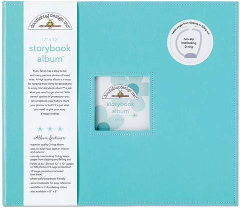 Doodlebug Storybook D Ring Photo Album Swimming Pool 12inx12in