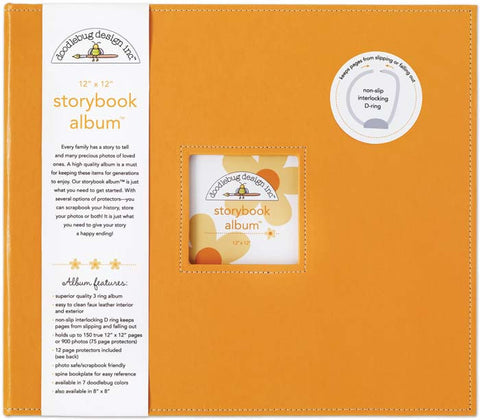 Doodlebug Storybook D-Ring Photo Album Tangerine 12inx12in