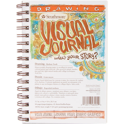 Strathmore Visual Journal Spiral Bound 100# Drawing 5.5inx8in