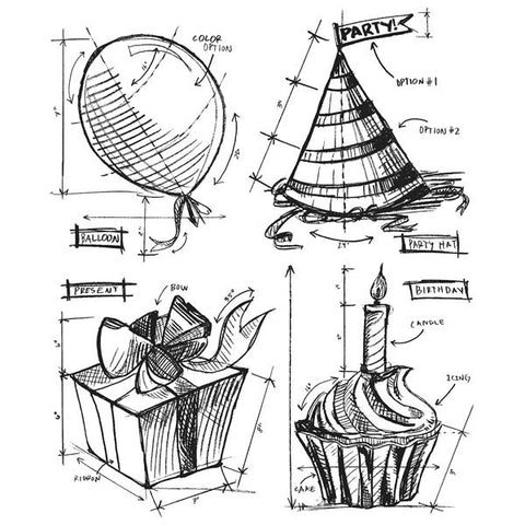Tim Holtz Cling Rubber Stamps Birthday