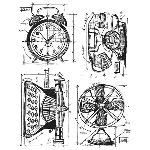 Tim Holtz® Cling Rubber Stamp Set Blueprint Series - Vintage Things