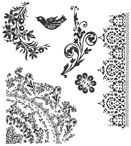 Tim Holtz Cling Rubber Stamps Floral Tattoo