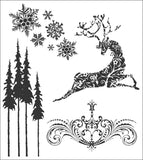 Tim Holtz Cling Rubber Stamps Reindeer Flight