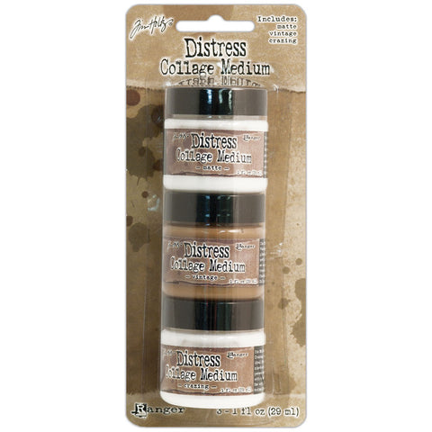 Tim Holtz Distress Collage Mini Mediums Vintage Matte and Crazing 3pk