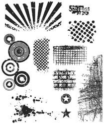 Tim Holtz Large Cling Rubber Stamp Set Bitty Grunge