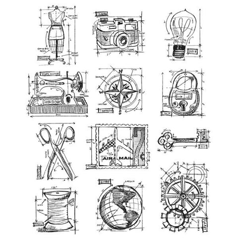 Tim Holtz® Large Cling Rubber Stamp Set - Mini Blueprints 3