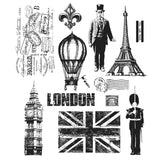 Tim Holtz Large Cling Rubber Stamp Set Paris To London