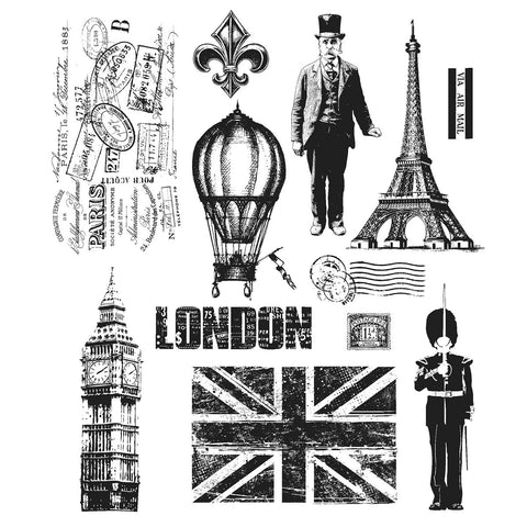 Tim Holtz® Large Cling Rubber Stamp Set - Paris To London