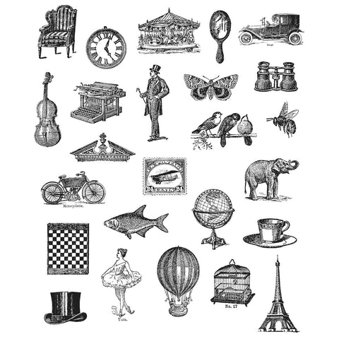 Tim Holtz Large Cling Rubber Stamp Set Tiny Things