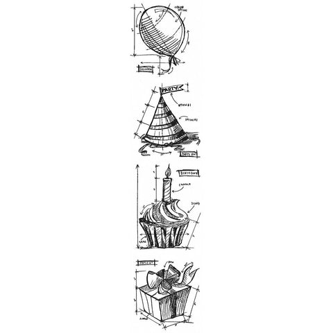 Tim Holtz Mini Blueprints Strip Cling Rubber Stamps Birthday