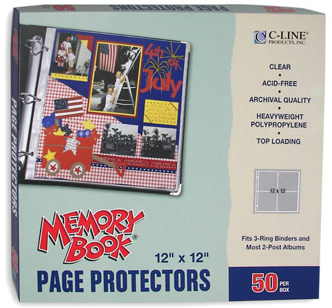 Top Loading Clear Page Protectors 12inx12in 50pk