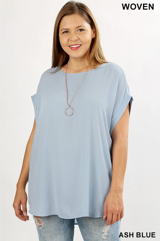 Cuff Sleeve Woven Tunic in Ash Blue