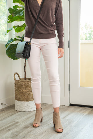 LARA: Solid Style Jeggings in Dusty Pink
