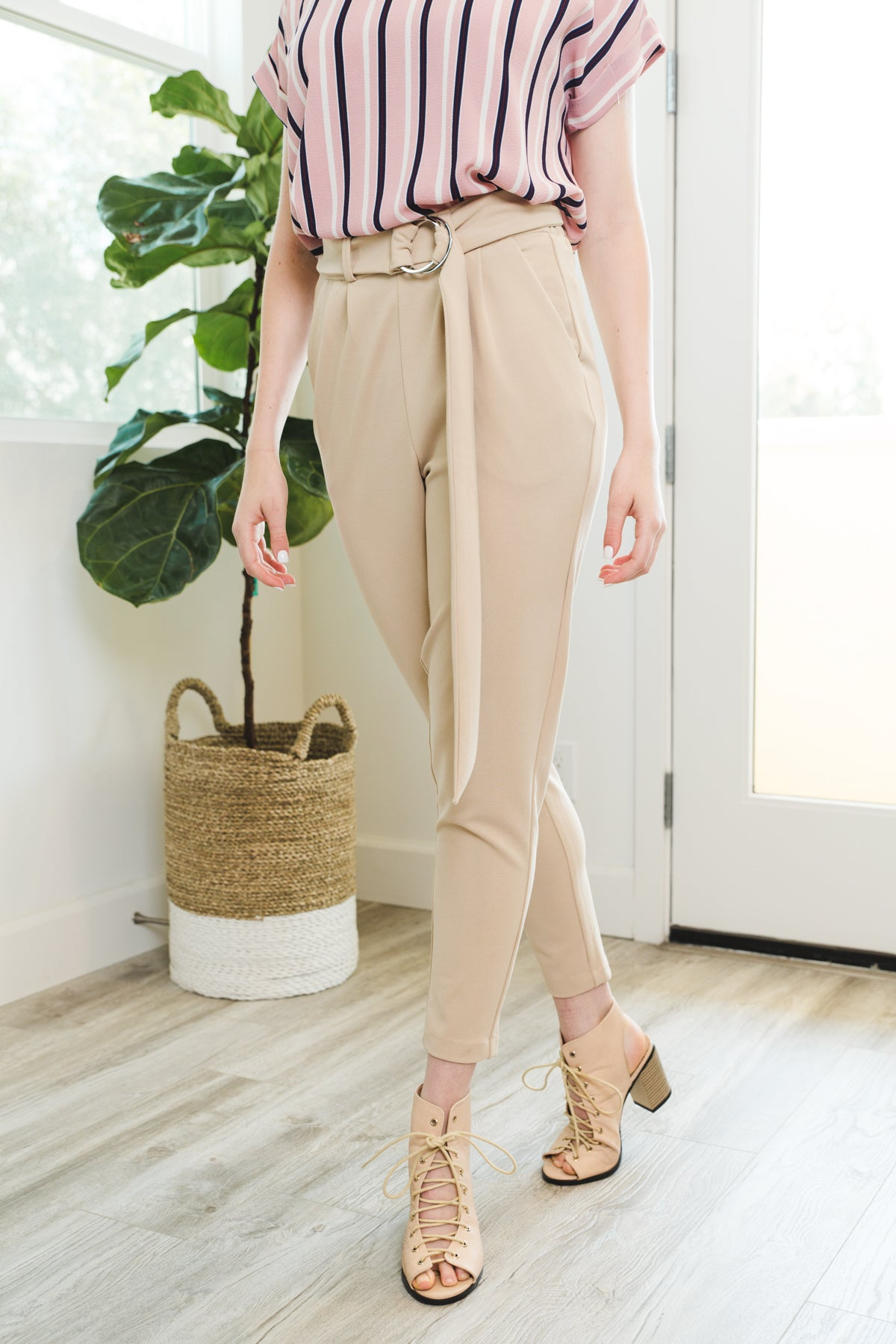 Belted Loop Trousers in Khaki