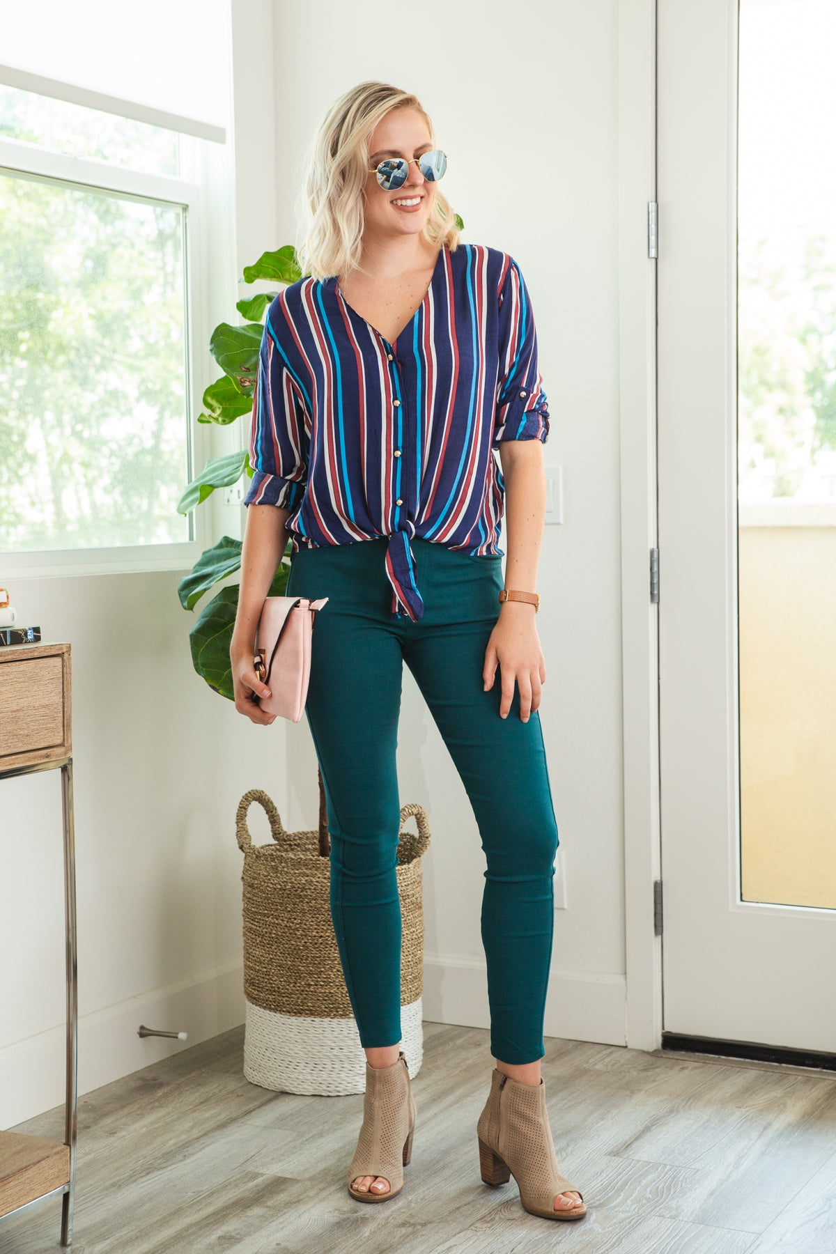 Follow the Stripes Blouse in Navy
