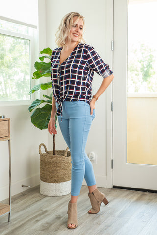 DAZZ: Challis Avenue Button Up Blouse in Navy