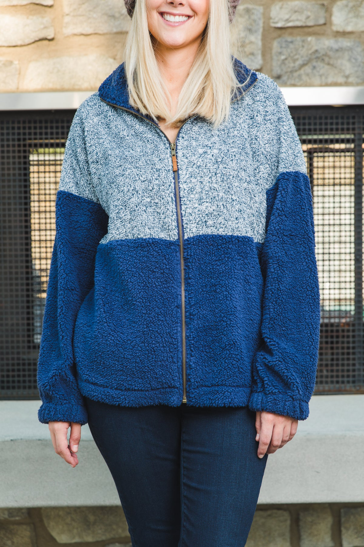 Sherpa Zip Up Jacket in Navy