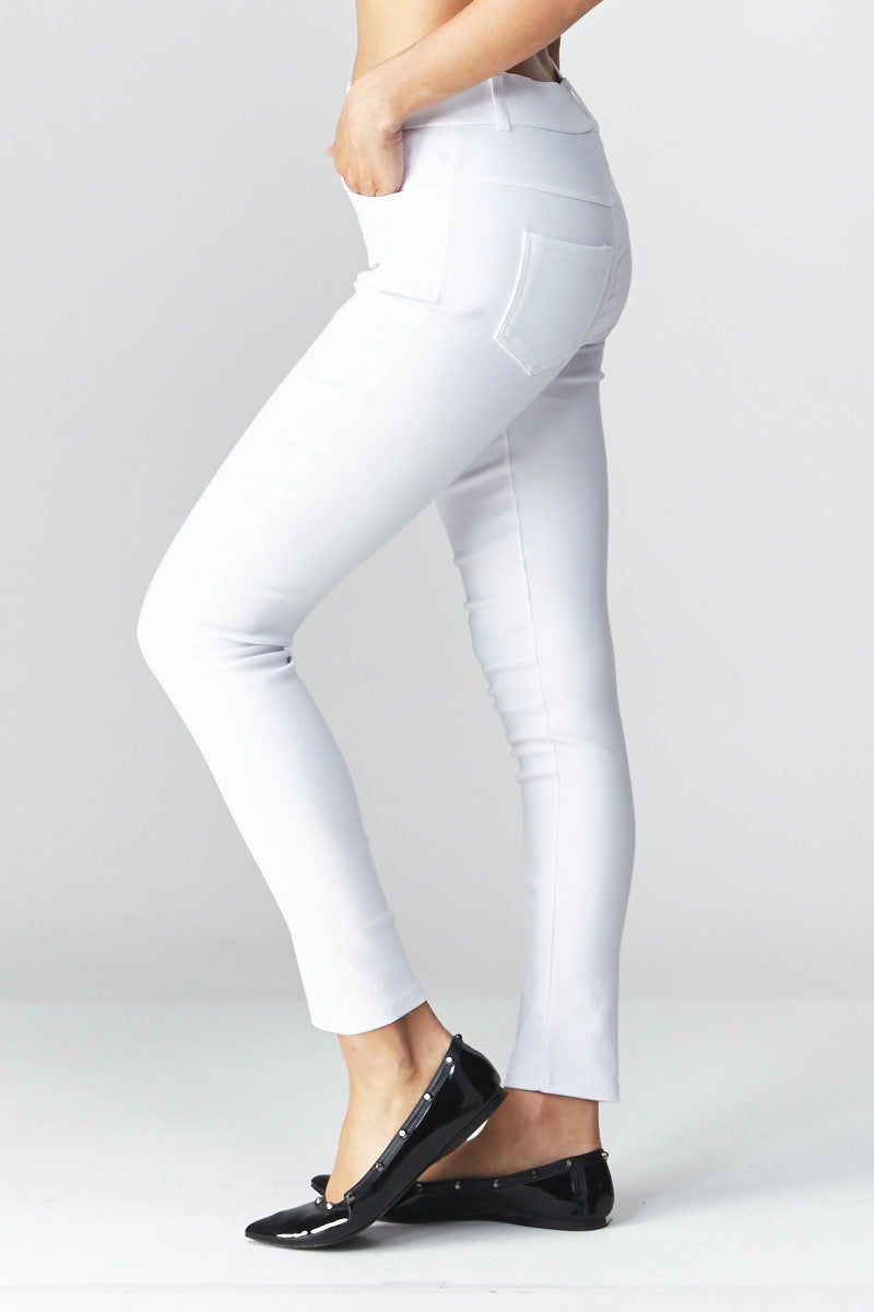 LARA: Solid Style Jeggings in White - Good Row Clothing  - 4