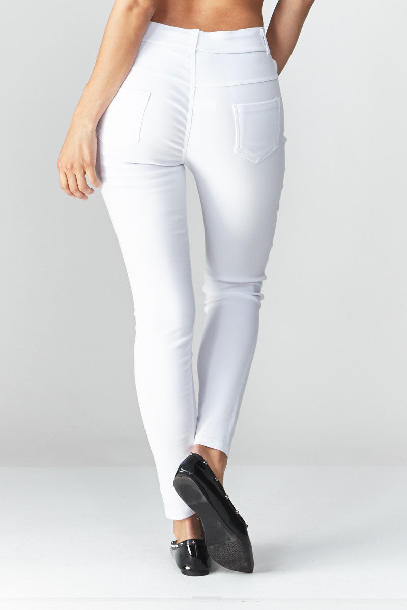 LARA: Solid Style Jeggings in White - Good Row Clothing  - 3