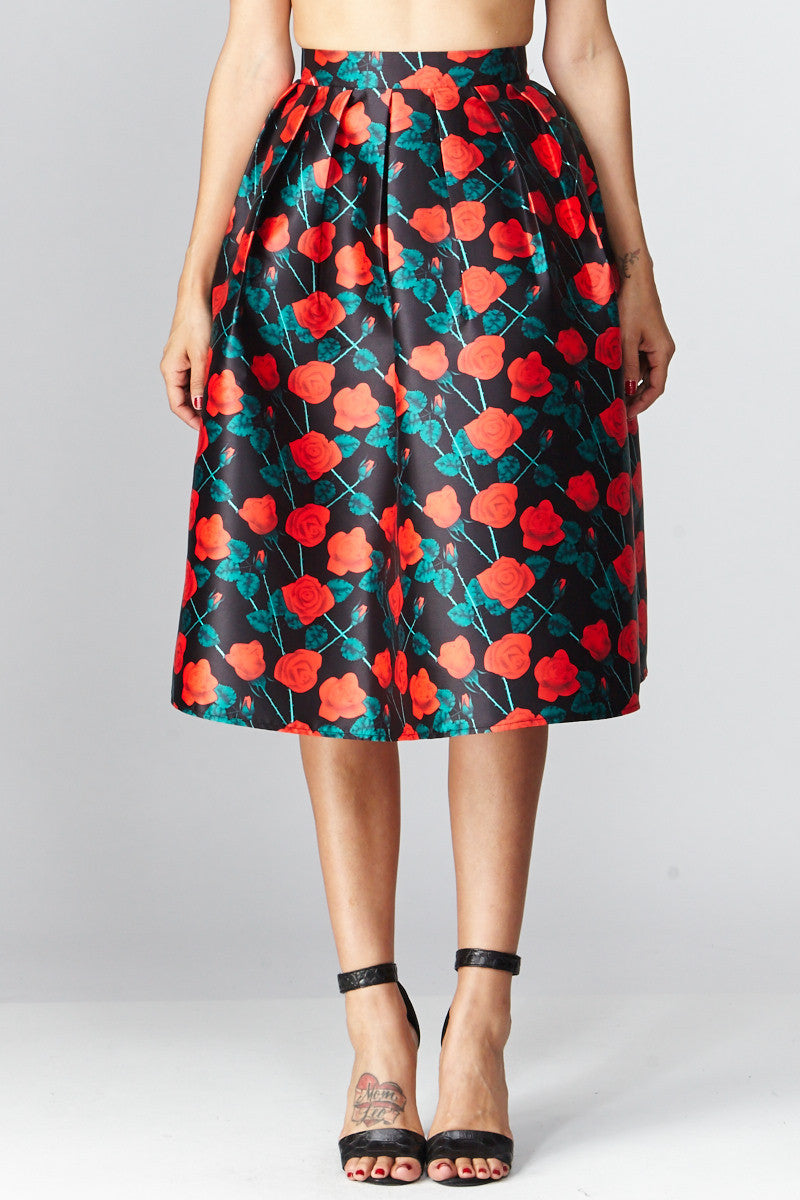 Deco: Darcy Floral A-Line Skirt
