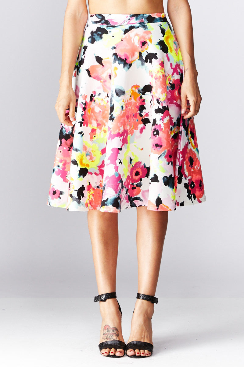 LARA: Living in Watercolor A-Line Skirt in Coral - Good Row Clothing  - 5