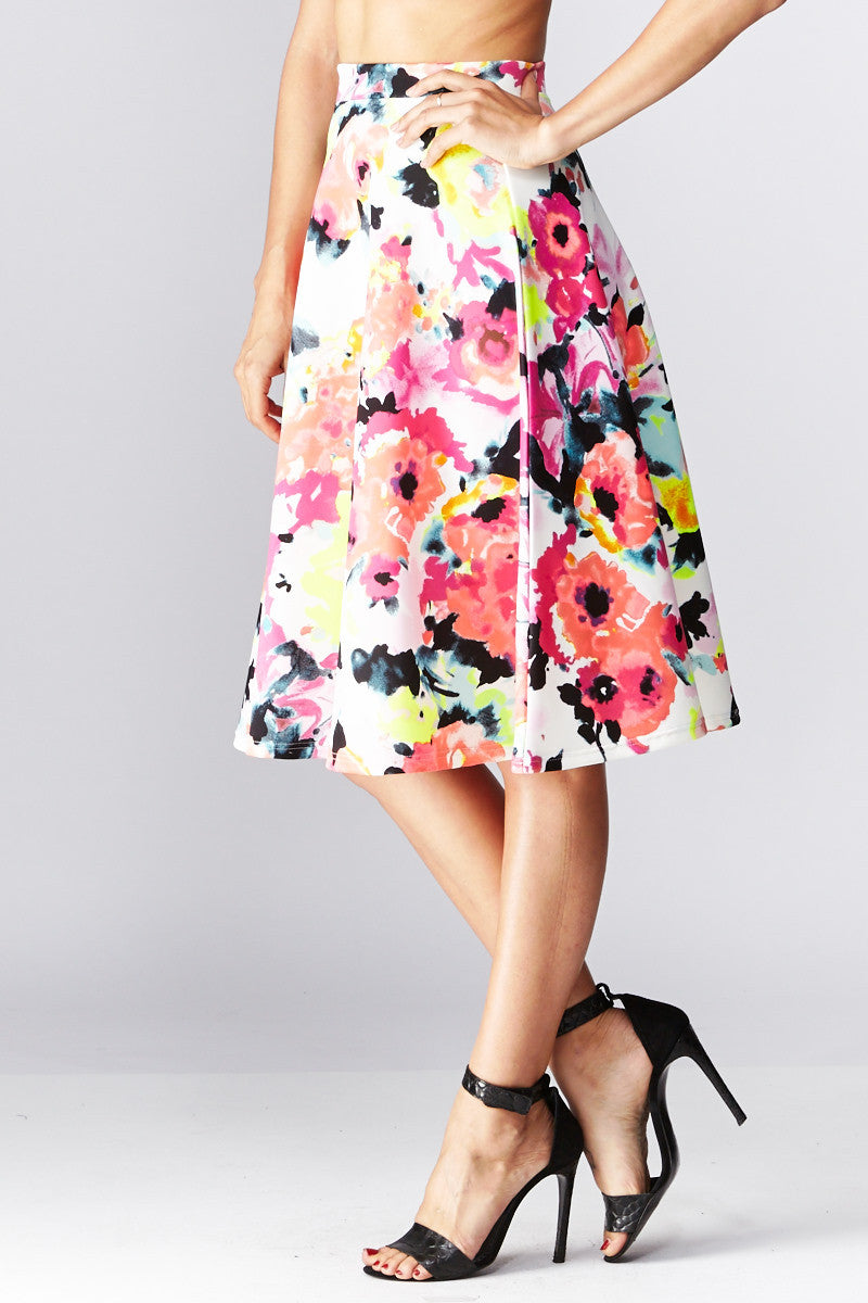 LARA: Living in Watercolor A-Line Skirt in Coral - Good Row Clothing  - 4