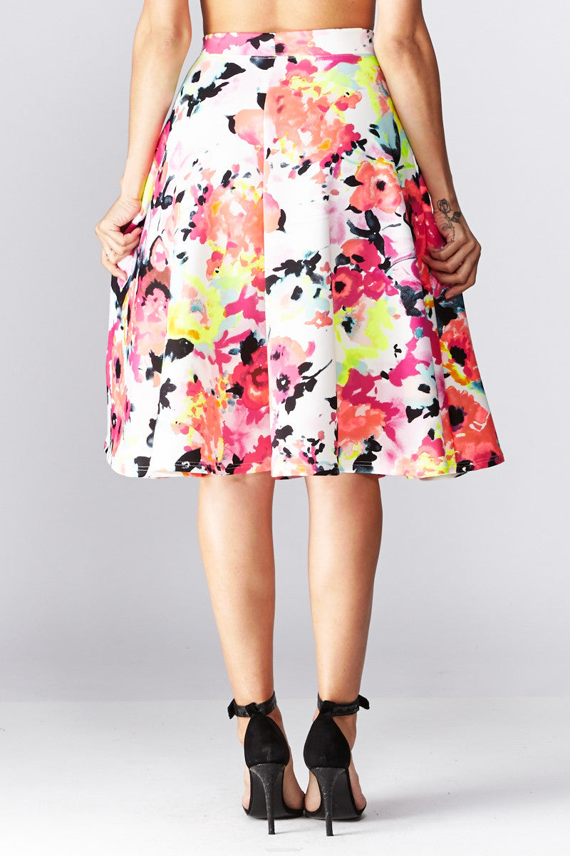 LARA: Living in Watercolor A-Line Skirt in Coral - Good Row Clothing  - 3