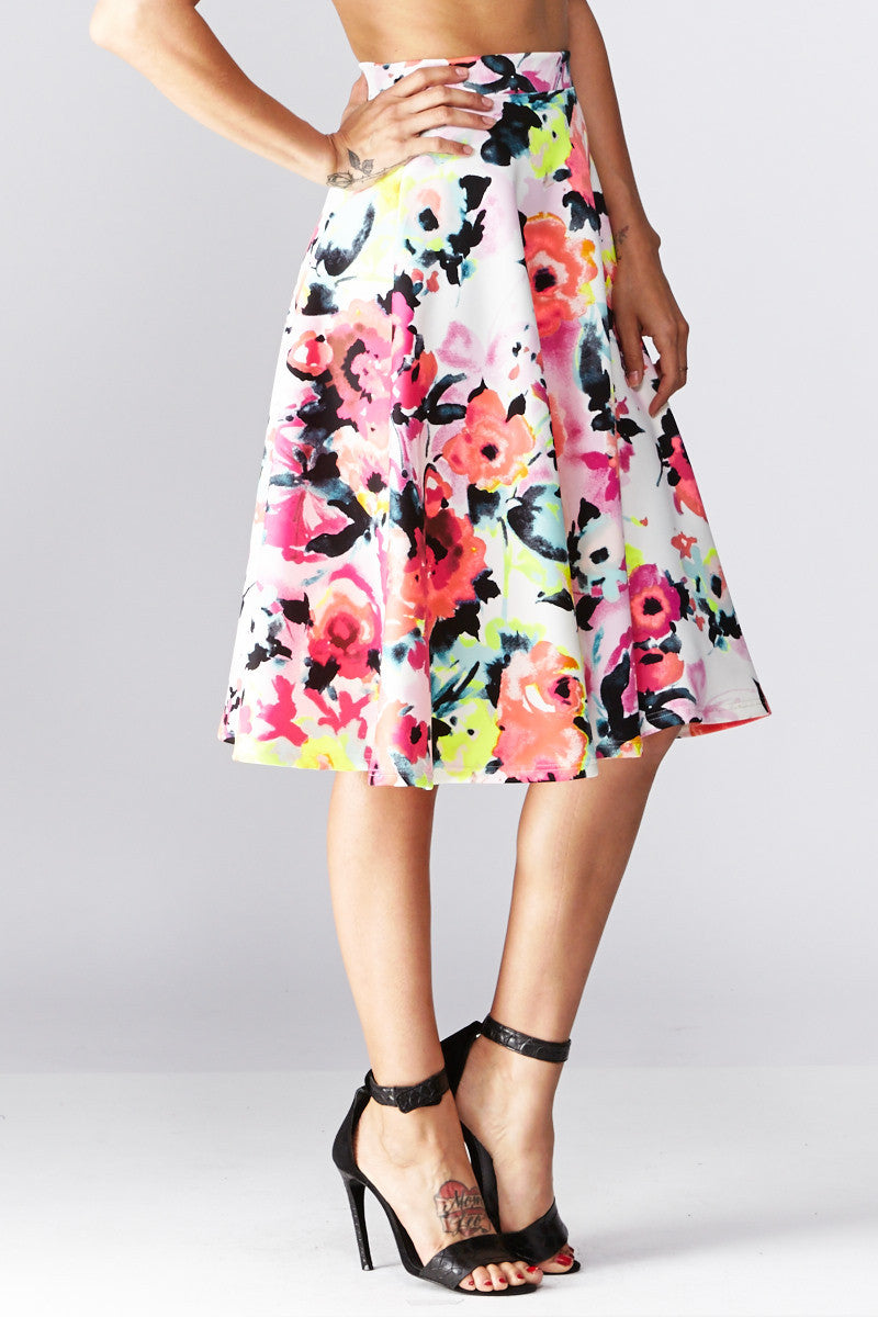 LARA: Living in Watercolor A-Line Skirt in Coral - Good Row Clothing  - 2