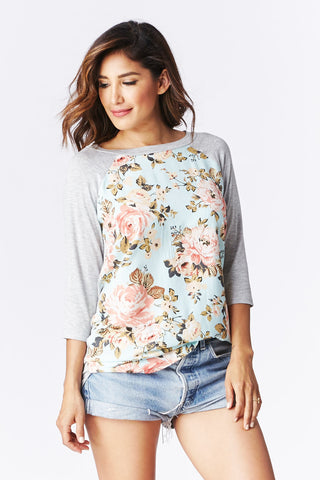 LARA: Floristry Baseball Tee in Mint - Good Row Clothing  - 1