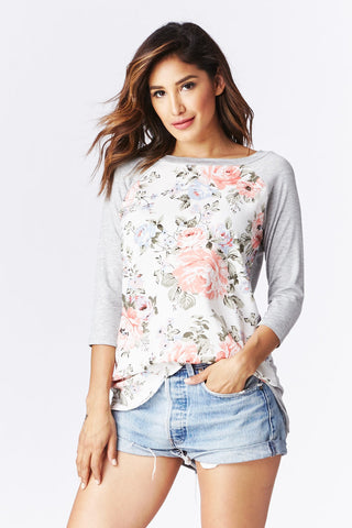 LARA: Floristry Baseball Tee in Ivory - Good Row Clothing  - 1