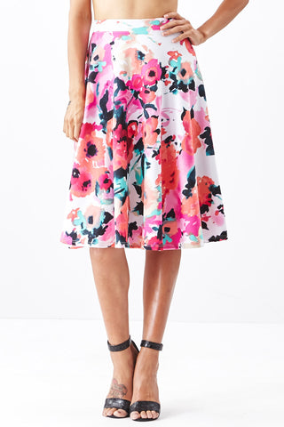 LARA: Living in Watercolor A-Line Skirt in Pink - Good Row Clothing  - 1