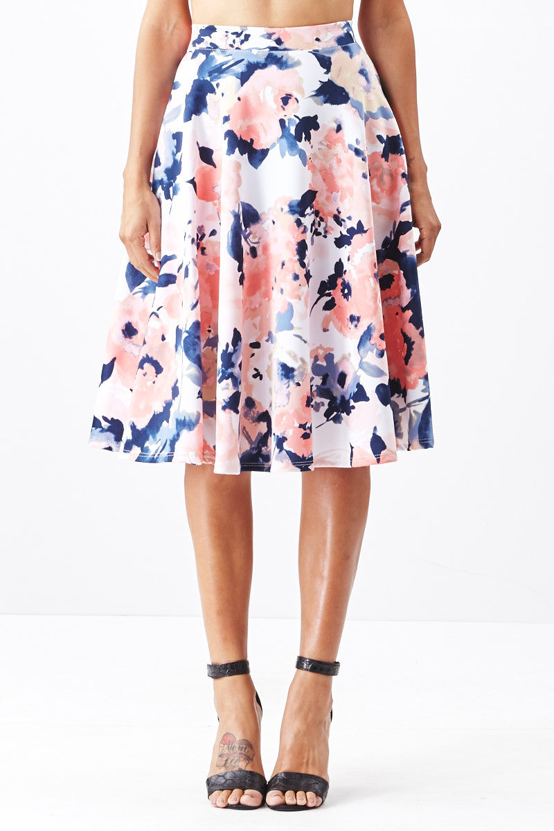 LARA: Living in Watercolor A-Line Skirt in Blush - Good Row Clothing  - 5