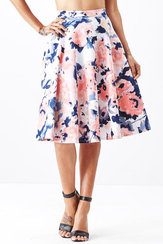LARA: Living in Watercolor A-Line Skirt in Blush - Good Row Clothing  - 1