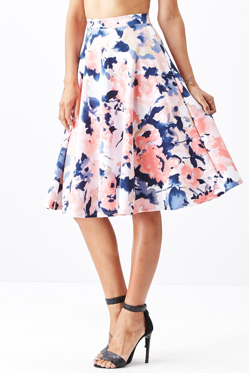 LARA: Living in Watercolor A-Line Skirt in Blush - Good Row Clothing  - 4