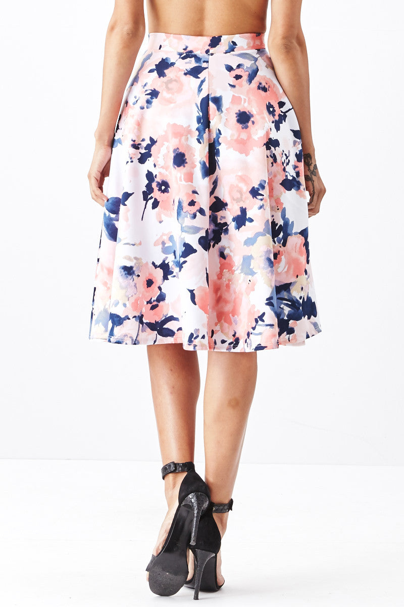 LARA: Living in Watercolor A-Line Skirt in Blush - Good Row Clothing  - 3