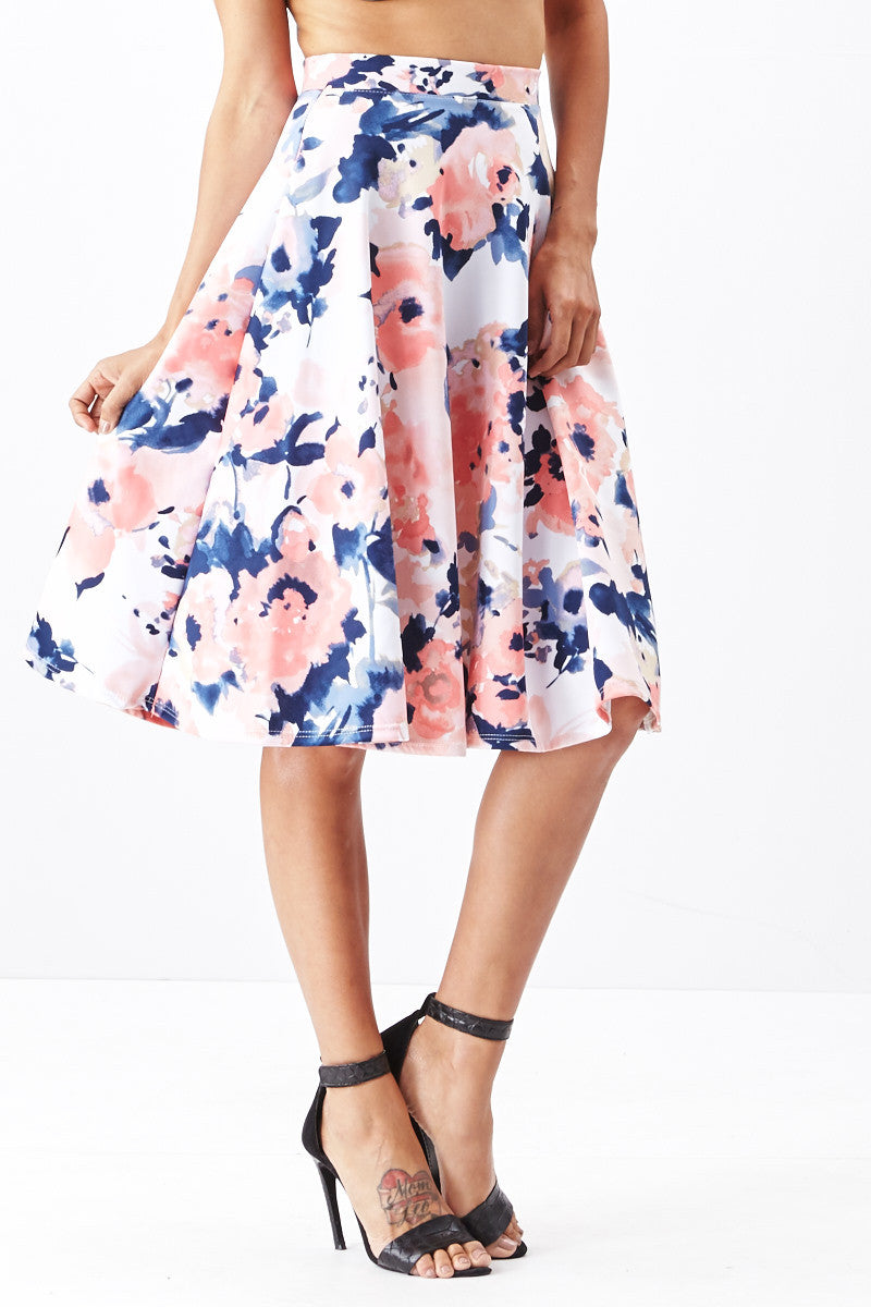 LARA: Living in Watercolor A-Line Skirt in Blush - Good Row Clothing  - 2