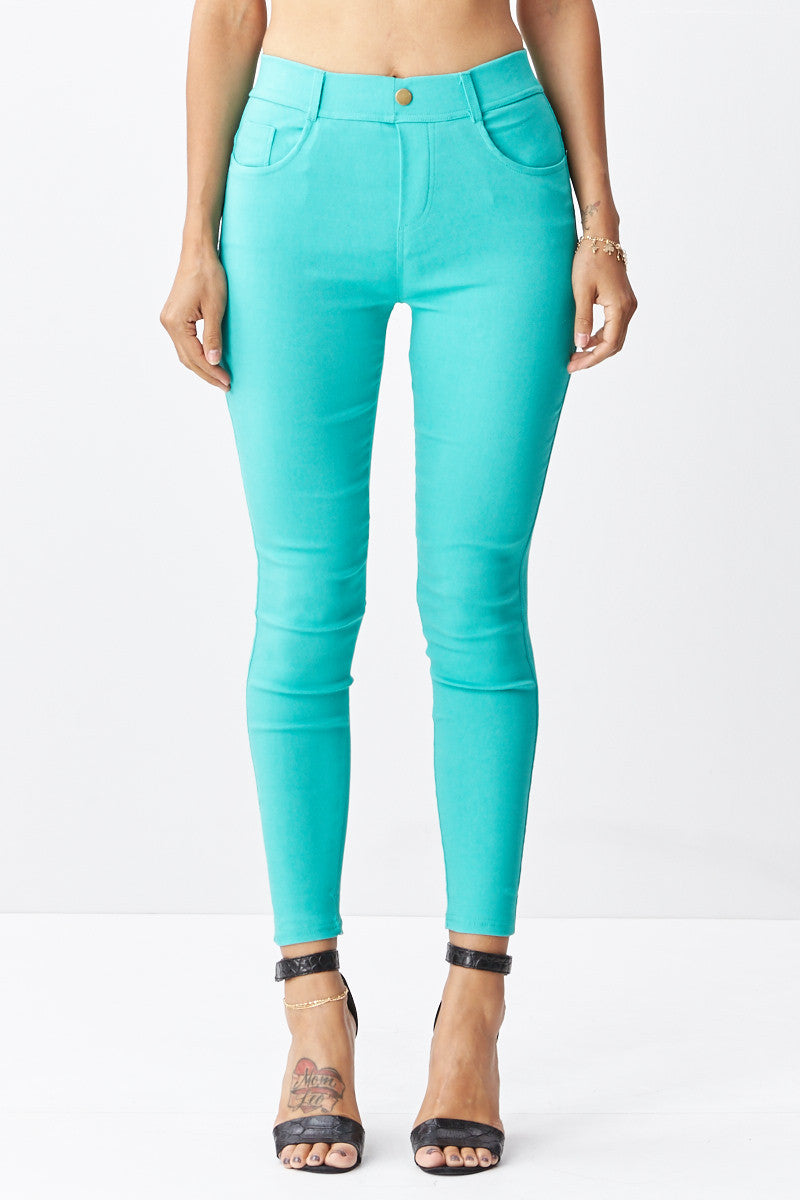 LARA: Solid Style Jeggings in Mint - Good Row Clothing  - 5