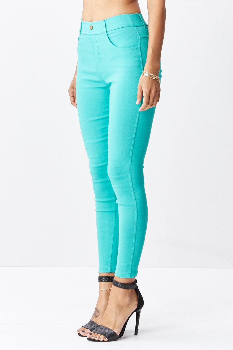 LARA: Solid Style Jeggings in Mint - Good Row Clothing  - 4