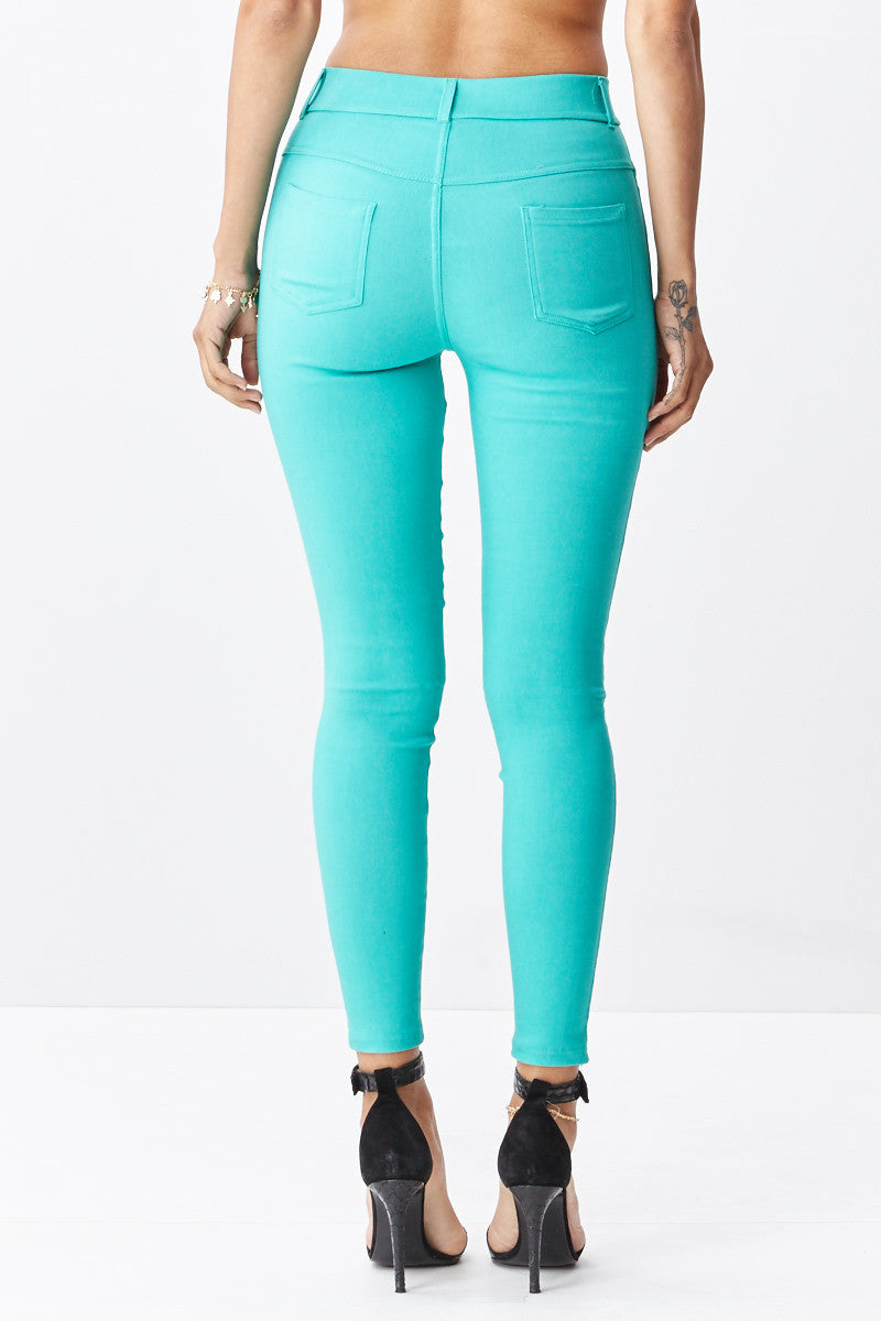LARA: Solid Style Jeggings in Mint - Good Row Clothing  - 3
