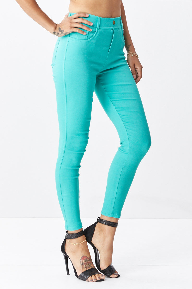 LARA: Solid Style Jeggings in Mint - Good Row Clothing  - 2