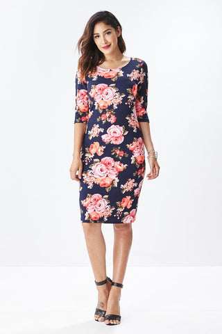 Lisa Midi Floral Dress in Navy - Good Row Clothing  - 1