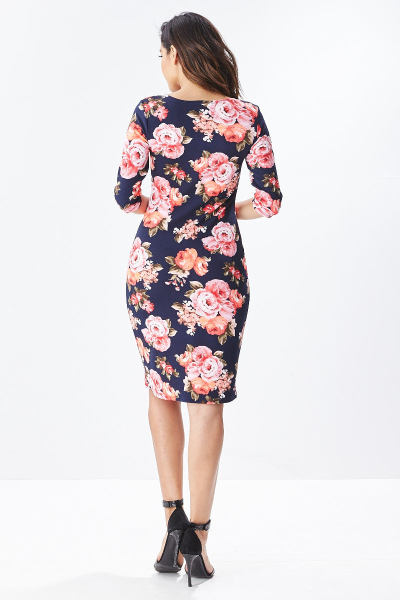 Lisa Midi Floral Dress in Navy - Good Row Clothing  - 4