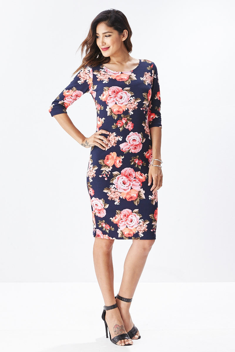 Lisa Midi Floral Dress in Navy - Good Row Clothing  - 5