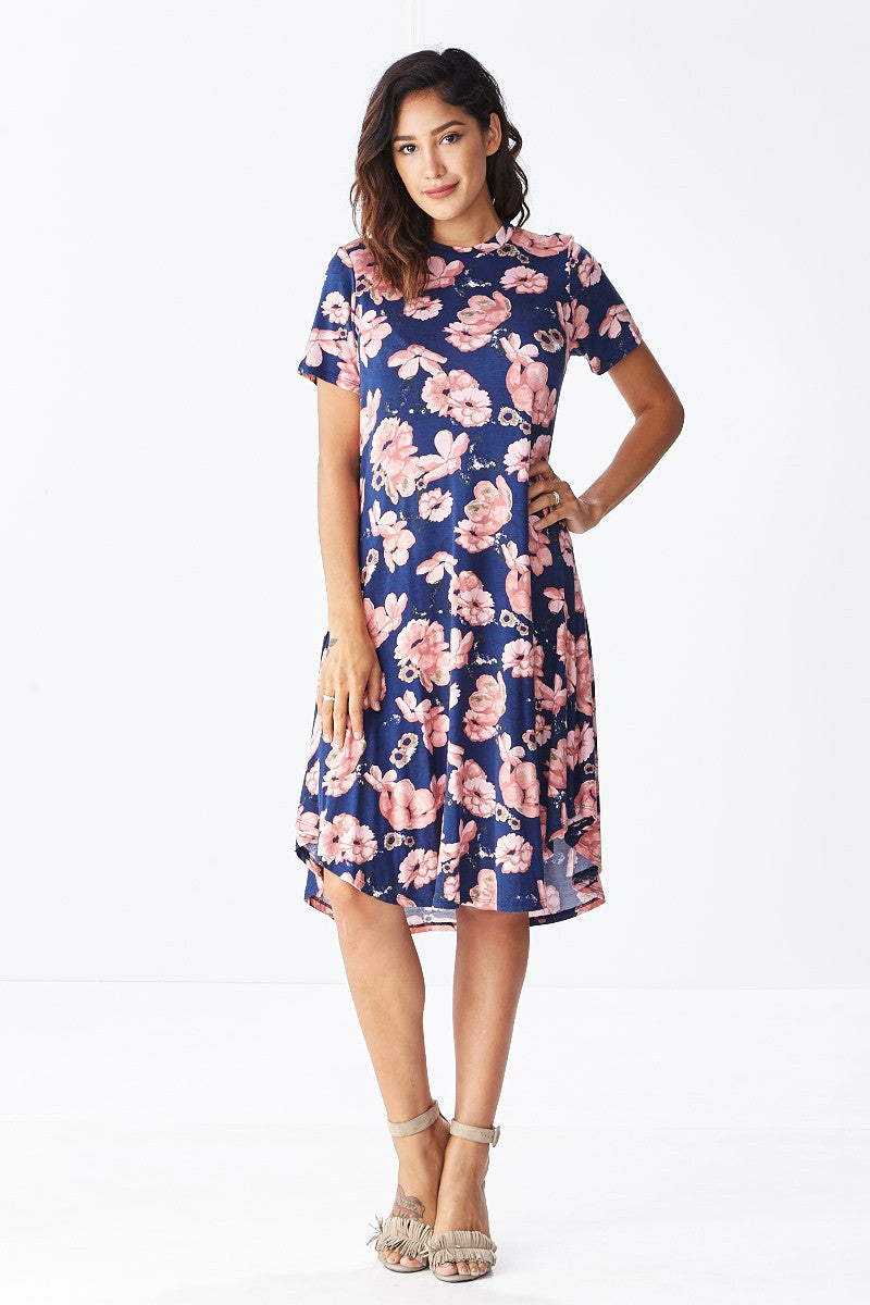 Lounge till Tomorrow Swing Dress in Navy - Good Row Clothing  - 4