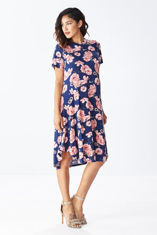 Lisa Midi Floral Dress in Navy