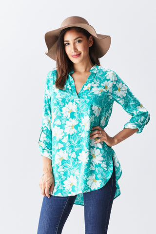 Lilian Blouse in Blossom Aqua - Good Row Clothing  - 1